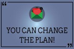 Teksta znak pokazuje Ciebie Może Zmieniać plan Konceptualna fotografia Robi zmianom w twój planach osiągać cel Otwartą kopertę ilustracji