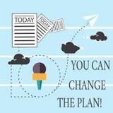 Teksta znak pokazuje Ciebie Może Zmieniać plan Konceptualna fotografia Robi zmianom w twój planach osiągać cele Ewidencyjnych royalty ilustracja