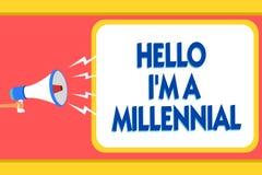 Teksta znak pokazuje cześć jestem Millennial Konceptualnego fotografii osoby dojechania młoda dorosłość w aktualnej wiek wiadomoś ilustracji