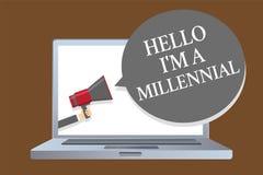 Teksta znak pokazuje cześć jestem Millennial Konceptualnego fotografii osoby dojechania młoda dorosłość w aktualnym wieka laptopu ilustracji
