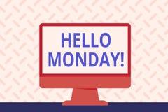 Teksta znak pokazuje cześć Poniedziałek Konceptualna fotografia wskazuje zaczynać świeży nowy tydzień wita je z uśmiech Pustą prz ilustracja wektor
