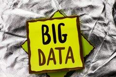 Teksta znak pokazuje Dużych dane Konceptualnej fotografii dane technologie informacyjne cyberprzestrzeni Bigdata bazy danych Ogro Zdjęcia Stock