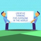 Teksta znak pokazuje Kreatywnie główkowanie Dla Everyone W świacie Konceptualnej fotografii Rozciągnięta twórczość inny Dwa mężcz royalty ilustracja