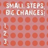 Teksta znak pokazuje Małym krokom Duże zmiany Konceptualna fotografia Robi małym rzeczom osiągać wielkiego celu okręgu fotografii ilustracji