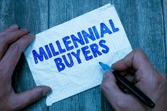 Teksta znak pokazuje Millennial nabywcy Konceptualny fotografia typ konsumenci które są zainteresowani w wykazywać tendencję prod zdjęcia royalty free