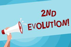 Teksta znak pokazuje 2Nd ewolucj? Konceptualna fotografii zmiana w heritable cechach biologicznych populacji Ludzka ręka ilustracji