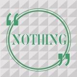Teksta znak pokazuje Nic Konceptualna fotografia Nie cokolwiek Żadny rzeczy lub wartości nieobecność postępu puste miejsce ilustracji