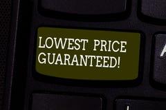 Teksta znak pokazuje Niską cenę Gwarantującą Konceptualni fotografii ceny ładunki są niscy wśród konkurenta Klawiaturowego klucza zdjęcia royalty free