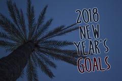 Teksta znak pokazuje 2018 nowy rok cele Konceptualna fotografii postanowienia lista rzeczy ty chcesz dokonywać Drzewnego palmoweg Obrazy Royalty Free
