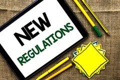 Teksta znak pokazuje Nowych przepisy Konceptualna fotografii zmiana prawa Rządzi Korporacyjne standard specyfikacje pisać na past Zdjęcia Stock