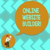 Teksta znak pokazuje Online strona internetowa budowniczego Konceptualny fotografia program, narzędzie który pomagają was budować ilustracji