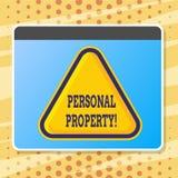Teksta znak pokazuje Osobistą własność Konceptualny fotografii należeń posiadań wartości osoby prywatnej właściciel ilustracja wektor