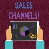 Teksta znak pokazuje sprzedaż kanały Konceptualna fotografia wymaga biznesowy sprzedawać bezpośrednio swój klient ręk Trzymać ilustracja wektor