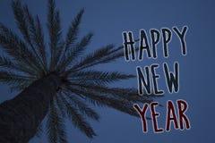 Teksta znak pokazuje Szczęśliwego nowego roku Konceptualnych fotografii gratulacj Wesoło Xmas everyone zaczynać Stycznia nieba Dr obrazy royalty free