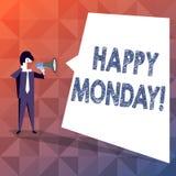 Teksta znak pokazuje Szczęśliwego Poniedziałek Konceptualna fotografia wskazuje zaczynać świeży nowy tydzień wita je z uśmiechu b ilustracji