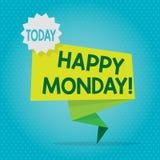 Teksta znak pokazuje Szczęśliwego Poniedziałek Konceptualna fotografia wskazuje zaczynać świeży nowy tydzień wita je z uśmiech Pu ilustracja wektor