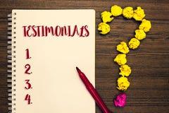 Teksta znak pokazuje Testimonials Konceptualnych fotografia klientów poparcia oświadczenia formalny doświadczenie someone Notepad zdjęcia stock
