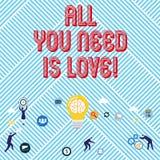 Teksta znak pokazuje Wszystko Jest miłością Ty Potrzebujesz Konceptualnej fotografii Głęboka afekcja potrzebuje docenienia roanal ilustracja wektor