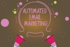 Teksta znaka emaila seans Automatyzujący marketing Konceptualny fotografia email wysyłał automatycznie lista pokazywać Dwa megafo ilustracja wektor
