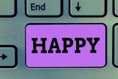 Teksta znaka pokazywać Szczęśliwy Konceptualny fotografii uczucia lub seans przyjemności contentment o coś osoba zdjęcia stock