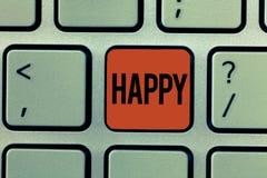 Teksta znaka pokazywać Szczęśliwy Konceptualny fotografii uczucia lub seans przyjemności contentment o coś osoba obrazy stock