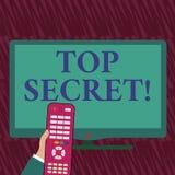 Teksta znaka pokazywa? ?ci?le Tajny Konceptualnej fotografii secrec wysoce poufnych kartotek miejsc lub informacji wysoka ręka ilustracja wektor