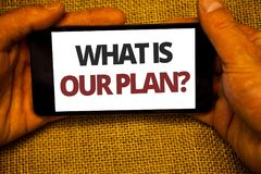 Teksta znaka seans Co Jest Nasz planu pytaniem Konceptualna fotografii misi Purpose agenda Strategize Brainstorming Jutowego work obrazy royalty free