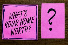 Teksta znaka seans Jaki s jest Twój Domowy Warty pytanie Konceptualna fotografii wartość domowej własności kosztu ceny tempa fioł ilustracji