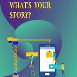 Teksta znaka seans Jaki S Twój Storyquestion Konceptualna fotografia Łączy Komunikuje łączliwość związek ilustracji