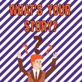 Teksta znaka seans Jaki S Twój Storyquestion Konceptualna fotografia Łączy Komunikuje łączliwość związek ilustracja wektor