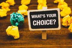 Teksta znaka seans Jaki S Twój Wyborowy pytanie Konceptualna fotografii opci decyzja Wolał Poglądowego Preferansowego Blackboard  Obraz Royalty Free