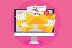 Teksta znaka seans Klika Ja Teraz Konceptualnej fotografii pomagać biurka Internetowa prasa guzik Online ikony Nertwork dostawani ilustracja wektor