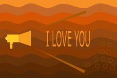 Teksta znaka seans Kocham Ciebie Konceptualna fotografia Wyraża roanalysistic uczucia dla someone Pozytywna emocja ilustracji