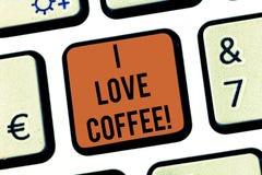 Teksta znaka seans Kocham kawę Konceptualnej fotografii Kochająca afekcja dla gorących napojów z kofeina nałogu klawiaturą ilustracja wektor