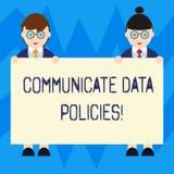 Teksta znaka seans Komunikuje dane polisy Konceptualna fotografii ochrona przekaz poufna dane samiec i ilustracja wektor