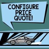 Teksta znaka seans Konfiguruje ceny wycenę Konceptualny fotografii oprogramowanie używa firmami dla kosztować towarowego samochód ilustracji
