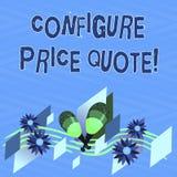 Teksta znaka seans Konfiguruje ceny wycenę Konceptualny fotografii oprogramowanie używa firmami dla kosztować towary Kolorowych ilustracja wektor