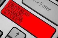 Teksta znaka seans Proofread Literujący gramatyki dokładność Konceptualna fotografia Grammatically poprawna Unika błąd czerwieni  obrazy stock