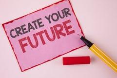 Teksta znaka seans Tworzy Twój przyszłość Konceptualny fotografii kariery celów celów ulepszenia set planuje uczenie pisać na Róż Zdjęcie Royalty Free