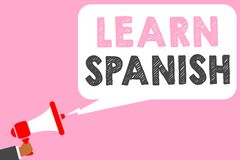 Teksta znaka seans Uczy się hiszpańszczyzny Konceptualnej fotografii Przekładowy język w Hiszpania słownictwa dialektu mowy mężcz royalty ilustracja