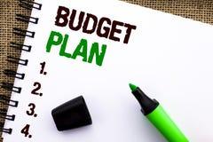 Teksta znaka seansu budżeta plan Konceptualna fotografii księgowości strategia Budżetuje Pieniężne Celne ekonomie pisać na notatn zdjęcie stock