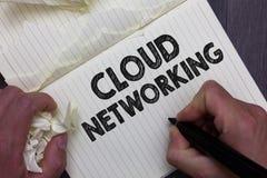 Teksta znaka seansu chmury networking Konceptualna fotografia jest terminu opisywania dostępem networking zasobów mężczyzna mieni obraz stock
