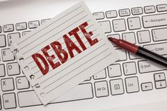 Teksta znaka seansu debata Konceptualnej fotografii formalna dyskusja na szczególe w spotkaniu lub zgromadzeniu ustawodawczym obrazy stock