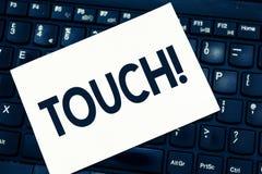 Teksta znaka seansu dotyk Konceptualna fotografii rękojeść po to, aby ingerować z zmienia afektu kontakt z Smartphone obraz royalty free
