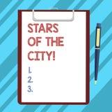 Teksta znaka seansu gwiazdy miasto Konceptualnej fotografii Iskrzasta noc w miasto brylancie iluminował Pustego prześcieradło royalty ilustracja