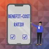 Teksta znaka seansu korzyści kosztu współczynnik Konceptualny fotografii związek między korzyściami projekt i kosztami ilustracji