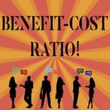 Teksta znaka seansu korzyści kosztu współczynnik Konceptualny fotografii związek między korzyściami projekt i kosztami ilustracja wektor