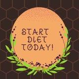 Teksta znaka seansu początku dieta Dzisiaj Konceptualnej fotografii specjalny kursowy jedzenie który ono ogranicza demonstrujący ilustracji