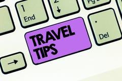 Teksta znaka seansu podróży porady Konceptualne fotografii rekomendacje dla szczęśliwej podróży bezpiecznego wygodnego wakacje obraz stock