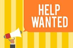 Teksta znaka seansu pomoc Chcieć Konceptualna fotografii reklama umieszczająca w gazecie pracodawca aport pracownikami Obsługuje  zdjęcie stock